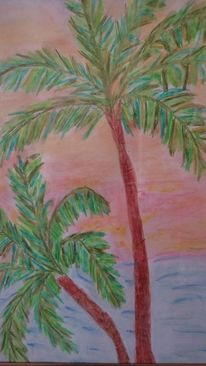 Palmen, Aquarellmalerei, Meer, Abendhimmel