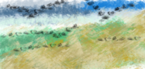 Landschaft, Farben, Malerei, Digitale kunst