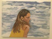 Acryl acrylmalerei, Wasser, Frau, Malerei