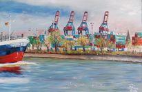 Schiff, Kran, Hamburg, Hafen