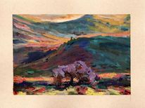 Baum, Aquarellmalerei, Landschaft, Gouachemalerei