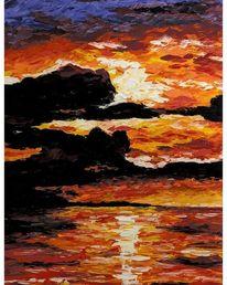 Acrylmalerei, Sonne, Ölmalerei, Sonnenuntergang