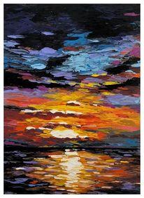 Farben, Landschaft, Acrylmalerei, Meer
