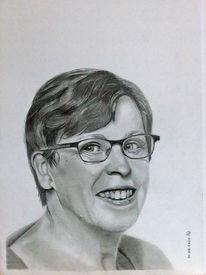 Brillenträgerin, Brille, Bleistiftzeichnung, Frau