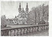 Dom, Bauwerke, Fulda, Tuschmalerei