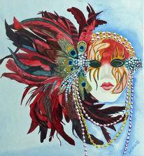Karneval, Maske, Aquarellmalerei, Aquarell