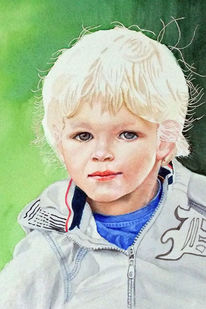 Kind, Aquarellmalerei, Portrait, Enkel