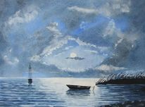 See, Mond, Mondlicht, Boot