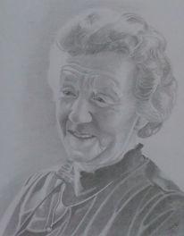 Portrait, Grafit, Ältere frau, Zeichnungen