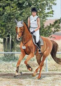 Reiter, Reiterin, Pferde, Aquarell