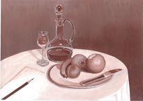 Stillleben, Messer, Acrylmalerei, Bleistiftzeichnung