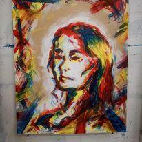 Rot, Malerei acryl, Farben, Blau