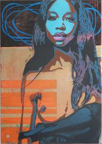 Street art, Menschen, Modern, Acrylmalerei