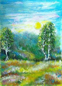 Grün, Acrylmalerei, Blumen, Birken