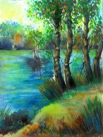 Gras, Aquarellmalerei, Baum, Sommer
