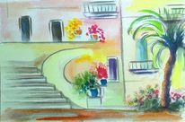 Haus, Palmen, Mediterran, Aquarellmalerei