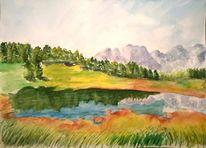 Berge, Aquarellmalerei, Landschaft, Baum