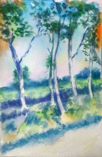 Aquarellmalerei, Otto modersohn, Baum, Blau