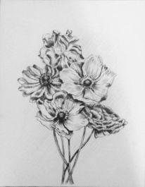 Blumen, Zeichnung, Blumenstrauß, Bleistiftzeichnung