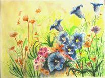 Blumenwiese, Rot, Aquarell pflanzen, Gebirgsblume