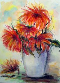 Blumen, Stillleben, Aquarellmalerei, Blumenstrauß