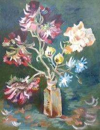 Acrylmalerei, Rittersporn, Flasche, Blumen