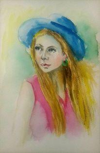 Schön, Frau, Porträtmalerei, Blau