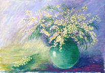 Pflanzen, Acrylmalerei, Mimose, Stillleben