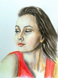 Portrait, Aquarell portrait, Frauenportrait, Aquarellmalerei