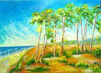 Pinie, Wolken, Acrylmalerei, Wasser