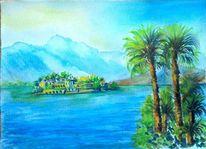 Blau, Berge, Urlaub, Aquarell landschaft