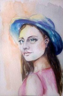 Aquarellmalerei, Blau, Porträtmalerei, Gesicht