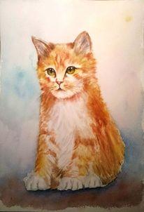 Tiere, Aquarellmalerei, Katze, Katzenportrait