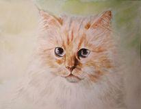 Katze, Choupette, Katzenportrait, Aquarellmalerei