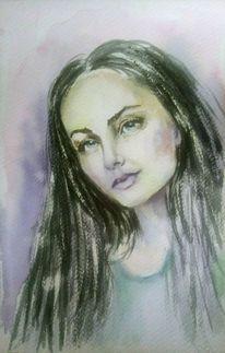 Frauenportrait, Ausdruck, Lange haare, Hübsch