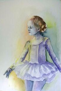 Mädchen, Aquarellmalerei, Ballerina, Menschen
