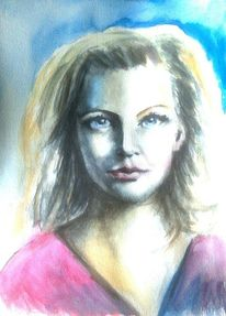 Aquarellmalerei, Frauenportrait, Blau, Hell