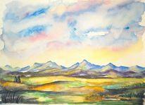 Baum, Aquarellmalerei, Landschaft, Himmel