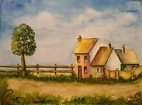 Häuser, Aquarellmalerei, Blumen, Landschaft