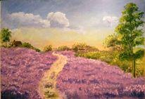Baum, Acrylmalerei, Haus, Lavendel