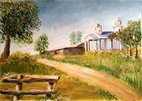 Häuser, Blumen, Landschaft, Acrylmalerei