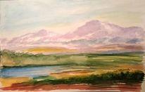 Berge, Aquarellmalerei, Landschaft, Wasser
