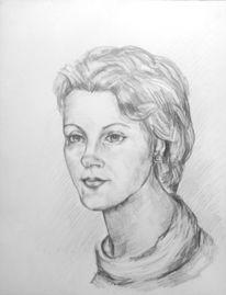 Portrait, Bleistiftzeichnung, Frauenportrait, Menschen