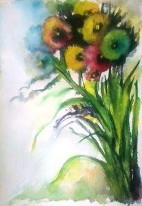 Pflanzen, Blau, Blumenstrauß, Gelb