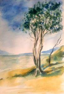 Landschaft, Tuschezeichnung, Grün, Berge
