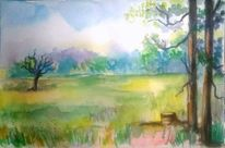 Landschaftsmalerei, Aquarellmalerei, Sommer, Gelb