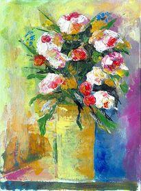 Malerei, Blumenstrauß, Grün, Blumen