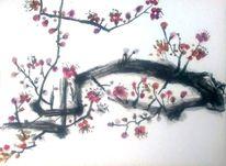 Baum, Rosa, Malerei, Tuschezeichnung