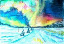 Polarlicht, Baum, Schnee, Nordlicht