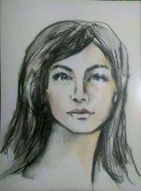 Zeichnung, Frauenportrait, Lange haare, Ausdruck